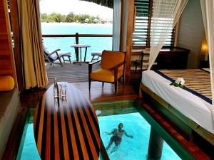Plancher en verre au Méridien Bora Bora