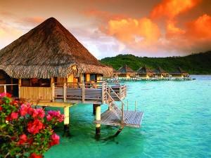 Coucher de soleil depuis l'InterContinental Bora Bora Le Moana Resort