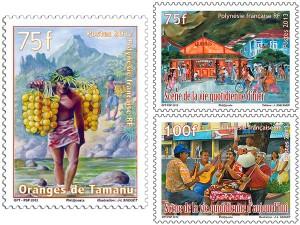 Timbres sur le thème de la vie quotidienne en Polynésie